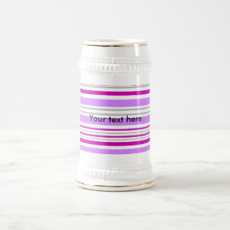 Modern gray violet and pink horizontal stripes beer steins