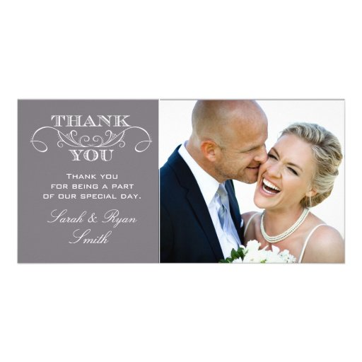 Modern Gray Wedding Photo Thank You Cards Photo Card Template
