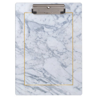 Modern Gray & White Marble Stone Clipboard