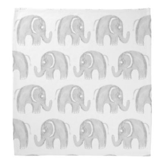 Modern gray white watercolor pastel cute elephant bandana