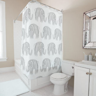 Modern gray white watercolor pastel cute elephant shower curtain