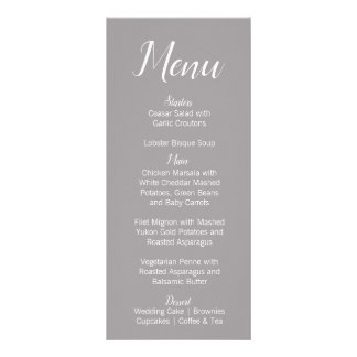 Modern Gray & White Wedding Menu Card
