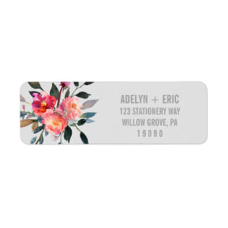 Modern Gray | Winter Flower Wedding Return Address Label