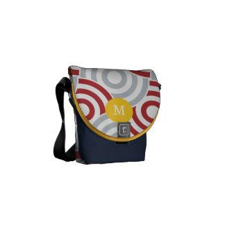 Modern Gray Yellow Navy Retro Geometric Pattern Messenger Bags