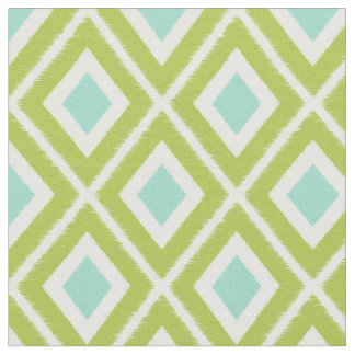 Modern Green and Aqua Ikat Pattern Fabric