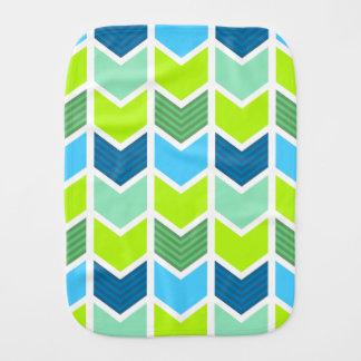 Modern Green and Blue Geometric Chevron Pattern Burp Cloth