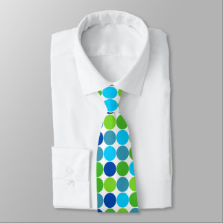 Modern Green and Blue Polka Dot Pattern Tie