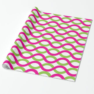 Modern Green and Fuchsia Pink Spiral Wave Pattern Wrapping Paper