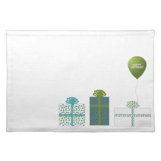Modern Green and Turquoise Happy Birthday Place Mat