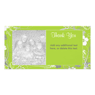 Modern Green and White Floral Photocard Photo Greeting Card