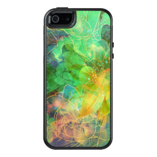 Modern Green And Yellow Tones Abstract Floral OtterBox iPhone 5/5s/SE Case