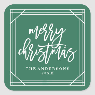 Modern Green Art Deco | Holiday Square Sticker
