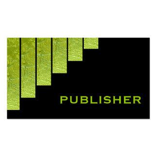 Modern green, black vertical stripes publisher pack of standard business cards