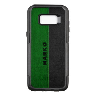 Modern Green & Black Vintage Leather OtterBox Commuter Samsung Galaxy S8+ Case