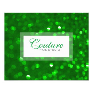 Modern Green Bokeh Glitter Menu List