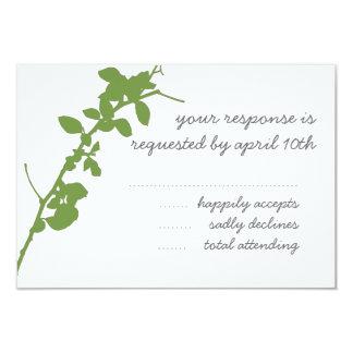 Modern Green Branch RSVP wedding card 9 Cm X 13 Cm Invitation Card