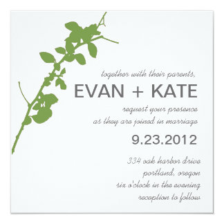 Modern Green Branch Wedding Invitation