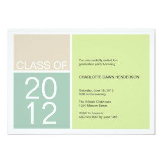 """Modern green color block class graduation invite 5"""" x 7"""" invitation card"""
