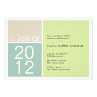 Modern green colour block class graduation invite