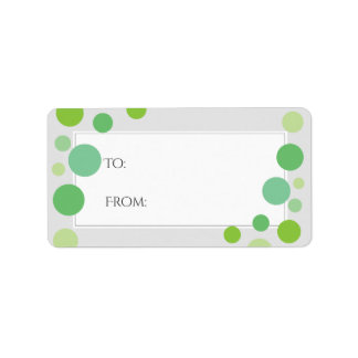 Modern Green Dots Gift Labels | Holiday Neutral