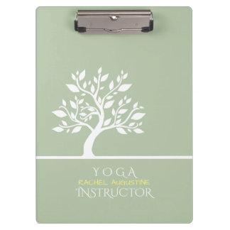 Modern Green Elegant Classy Tree YOGA Instructor Clipboard