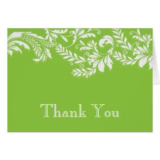 Modern Green Floral Leaf Flourish Thank You Note Card