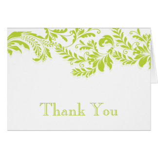 Modern Green Floral Leaf Flourish Thank You Note Note Card