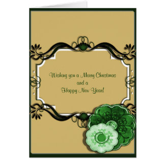 Modern Green Flowers,  Swirly Doodle Box Christmas Greeting Card