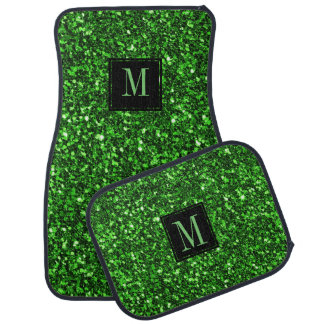 Modern Green Glitter Black Accent Car Mat