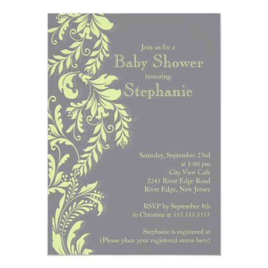 Modern Green Grey Floral Leaf Neutral Baby Shower Card