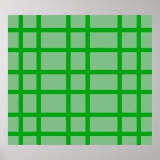 Modern green grid pattern poster