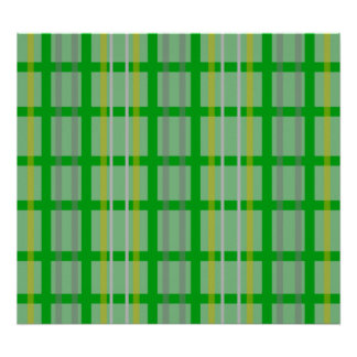 Modern green grid pattern with gold silver stripes poster