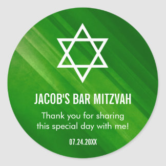 Modern Green Grunge Bar Mitzvah Classic Round Sticker