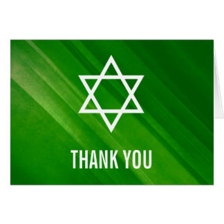 Modern Green Grunge Bar Mitzvah Thank You Card