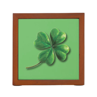 Modern Green Irish Shamrock Desk Organiser
