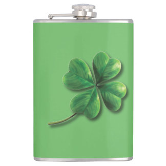 Modern Green Irish Shamrock Hip Flask