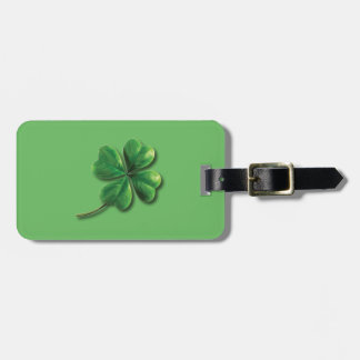 Modern Green Irish Shamrock Luggage Tag