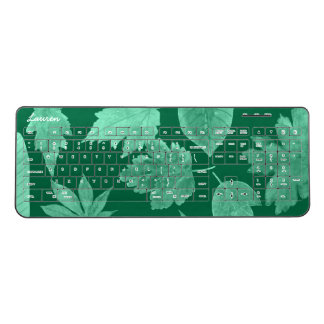 Modern green leaf office desk decor | leaves, name wireless keyboard