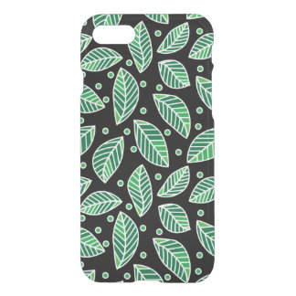 Modern Green Leaf Pattern On Black iPhone 7 Case