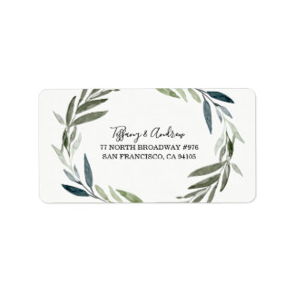 Modern Green Leaf Wreath Return Address Label