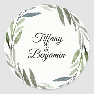Modern Green Leaf Wreath Wedding Engagement Party Classic Round Sticker