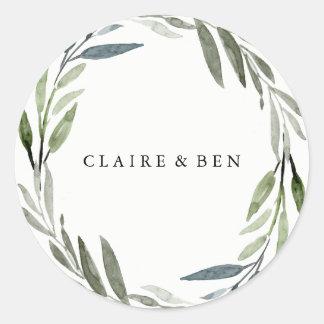 Modern Green Leaf Wreath Wedding Sticker