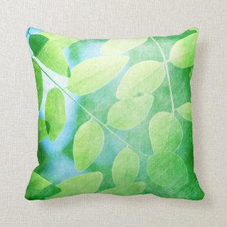 Modern Green Leaves Throw Cushion