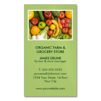 Modern Green Organic Farm Grocery Store Magnetic Business Cards