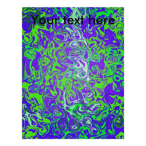 Modern green psychedelic on purple background flyers