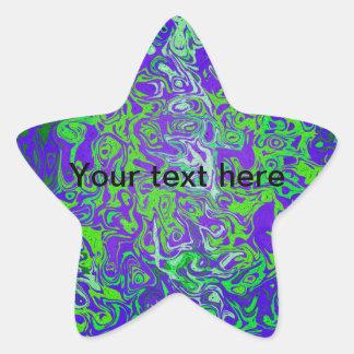 Modern green psychedelic on purple background star sticker