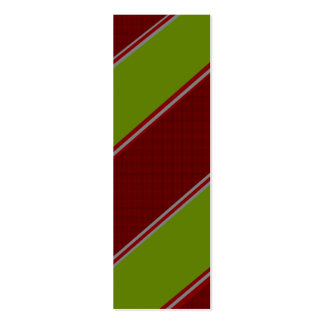 Modern green red diagonal stripes pack of skinny business cards