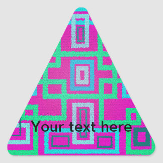 Modern green squares on pink background triangle sticker