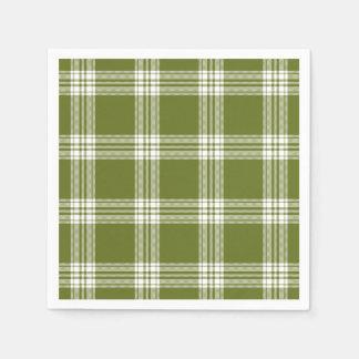 Modern Green Tartan Plaid Paper Napkins