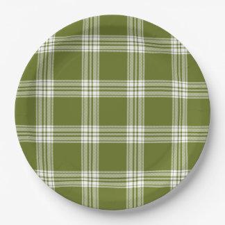 Modern Green Tartan Plaid Paper Plate
